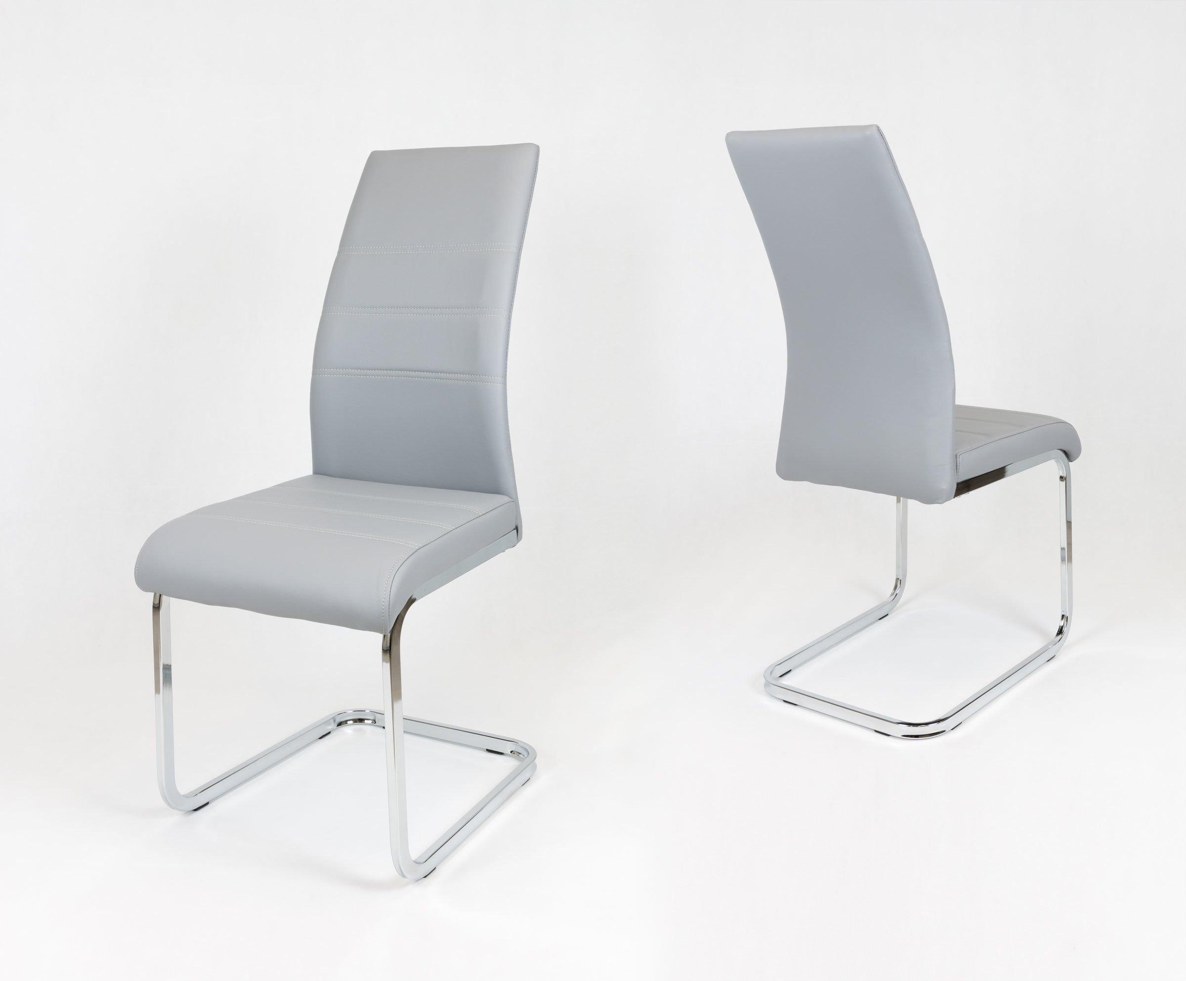 Sk design ks031 grau kunsleder stuhl mit chromgestell grau for Design stuhl grau