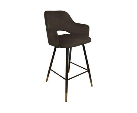 Brown upholstered STAR hoker material MG-05 with golden leg