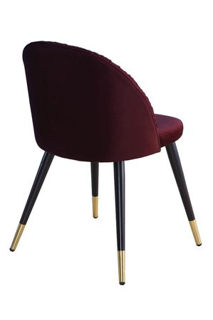 MONZA chair burgundy velvet / black and gold leg