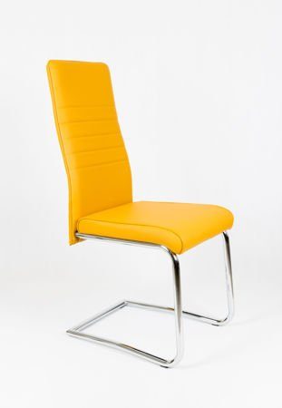 OUTLET (II gatunek) SK DESIGN KS022 HONEY Synthetic lether chair with chrome rack
