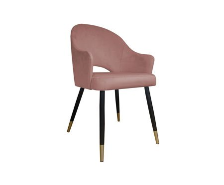 Pink upholstered DIUNA chair material MG-58 coral with gold legs