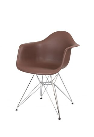 SK DESIGN KR012F BROWN ARMCHAIR CHROM