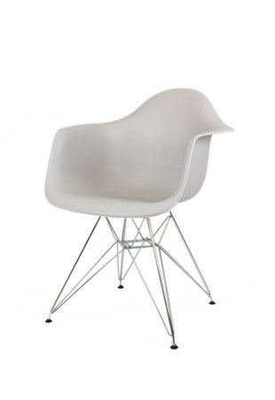 SK DESIGN KR012F LIGHT GREY ARMCHAIR CHROME