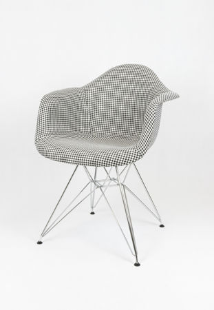 SK DESIGN KR012F UPHOLSTERED ARMCHAIR PEPITKA CHROME