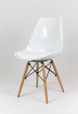 SK Design KR020 White Chair With Wooden Legs - Cushion