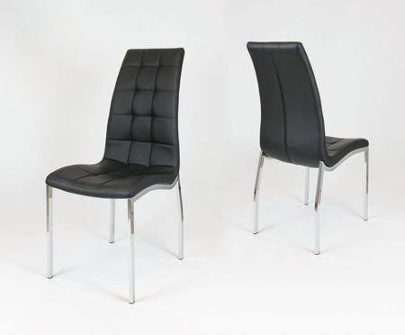 SK Design KS002 Black Synthetic lether chair with chrome rack