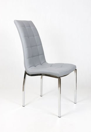 SK DESIGN KS002 Grey Synthetic leather chair with chrome rack
