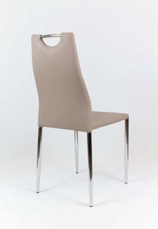 SK Design KS005 Beige Synthetic Leather Chair with Chrome Rack