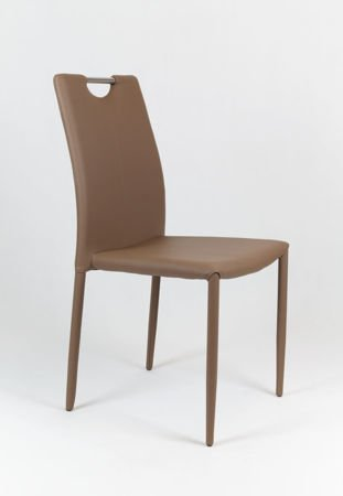 SK Design KS006 Brown Synthetic Leather Chair, Legs with Eco Leather