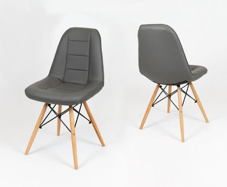 SK DESIGN KS009 DARK GREY Synthetic lether chair with wooden legs