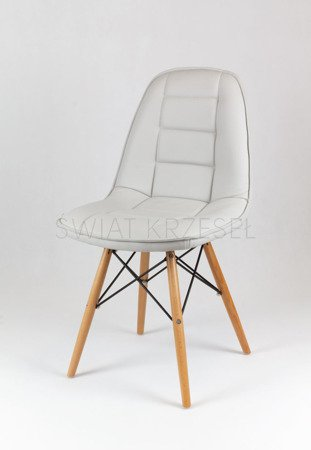 SK Design KS009 Light Grey Synthetic leather chair with wooden legs