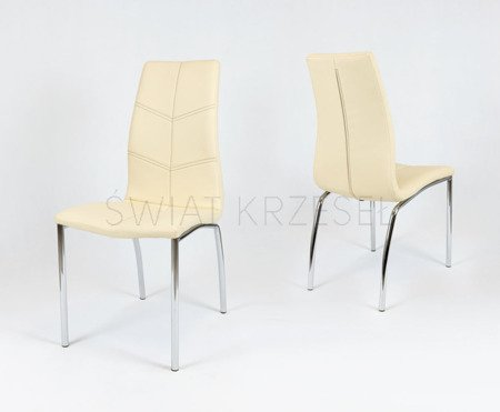 SK DESIGN KS010 CREAM SYNTHETIC LETHER CHAIR WITH CHROME RACK CIEMNE P