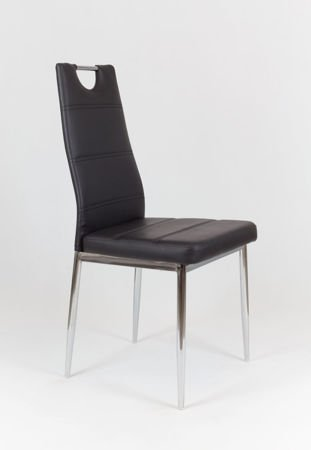 SK DESIGN KS017 BLACK Synthetic lether chair with chrome rack