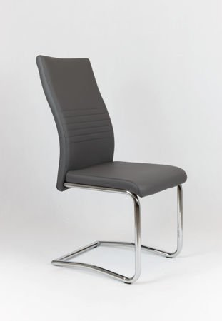 SK DESIGN KS020 DARK GREY SYNTHETIC LETHER CHAIR WITH CHROME RACK