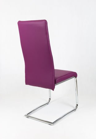 SK DESIGN KS022 PURPLE Synthetic lether chair with chrome rack