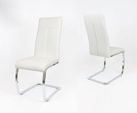 SK DESIGN KS028 BEIGE Synthetic lether chair with chrome rack