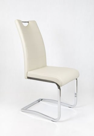 SK DESIGN KS030 CREAM Synthetic lether chair with chrome rack