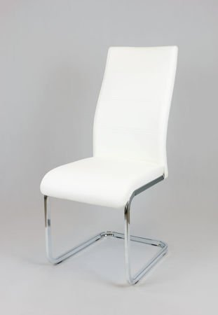 SK DESIGN KS032 WHITE SYNTHETIC LETHER CHAIR WITH CHROME RACK