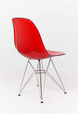 SK Design KR012 Clear Red Chair, Chrome legs