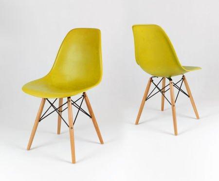 SK Design KR012 Olive Green Chair, Beech Legs