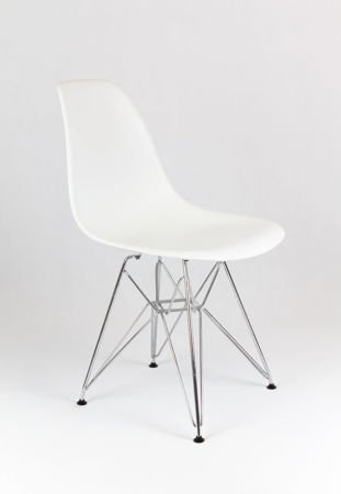 SK Design KR012 White Chair Chrome