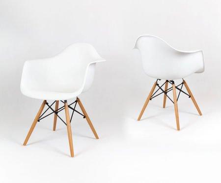 SK Design KR012F White Armchair, Beech legs