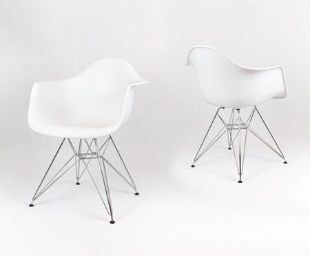 SK Design KR012F White Armchair, Chrome legs