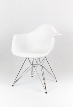 SK Design KR012F White Armchair, Chrome legs