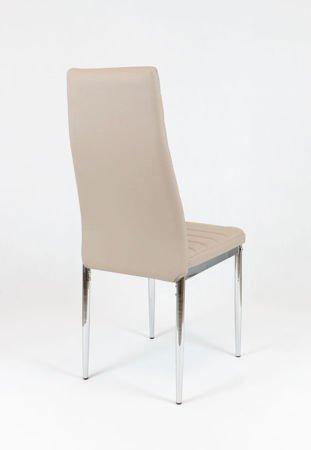 SK Design KS001 Beige Synthetic Leather Chair, Chrome Rack