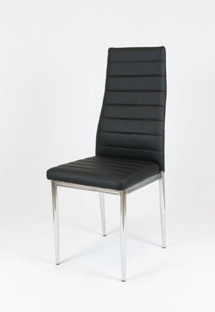 SK Design KS001 Black Synthetic Leather Chair with Chrome