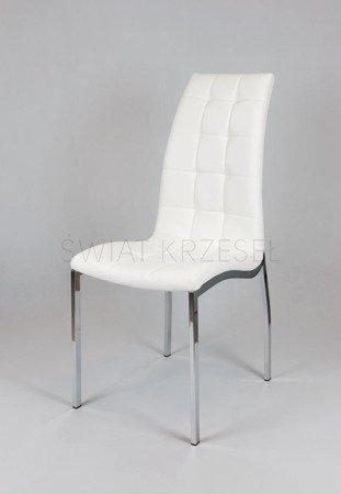 SK Design KS002 White Synthetic lether chair with chrome rack
