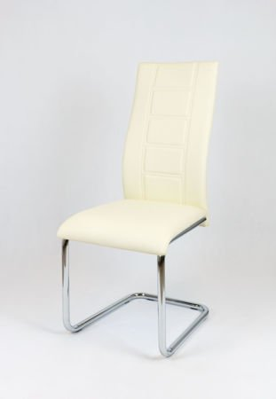 SK Design KS029 CREAM Synthetic lether chair with chrome rack