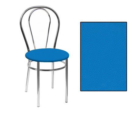 SKN Mars Blue Chair, Chrome Legs