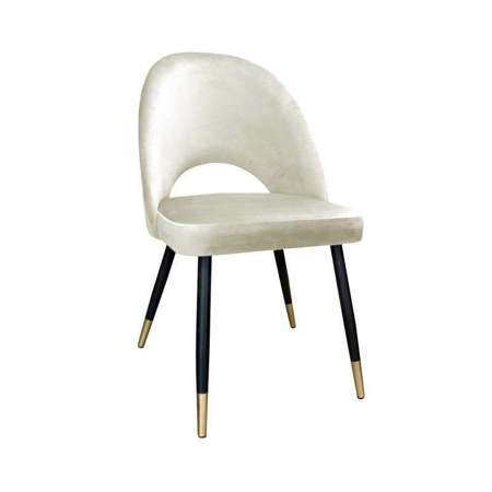 Upholstered LUNA chair in ivory color material MG-50 with golden leg