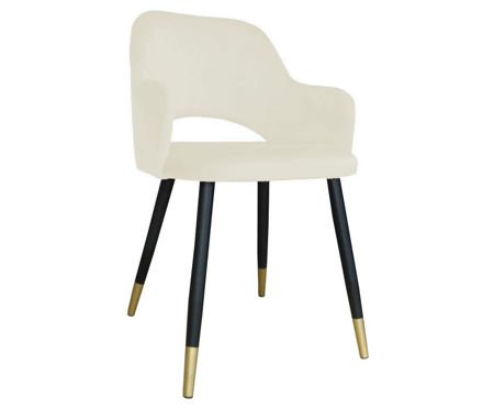 Upholstered STAR chair in ivory color material MG-50 with golden leg