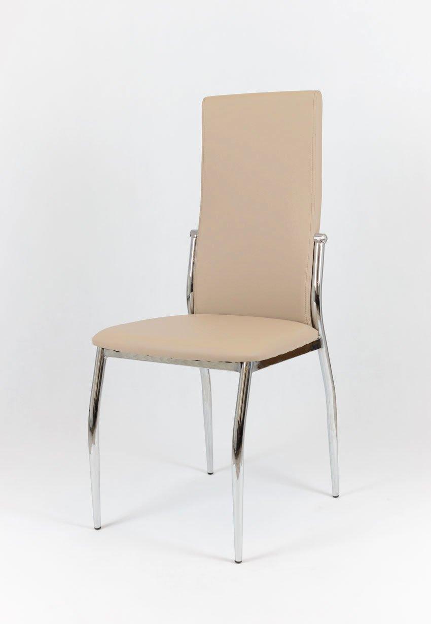 SK Design KS004 Beige Kunsleder Stuhl mit Chromgestell Beige ...