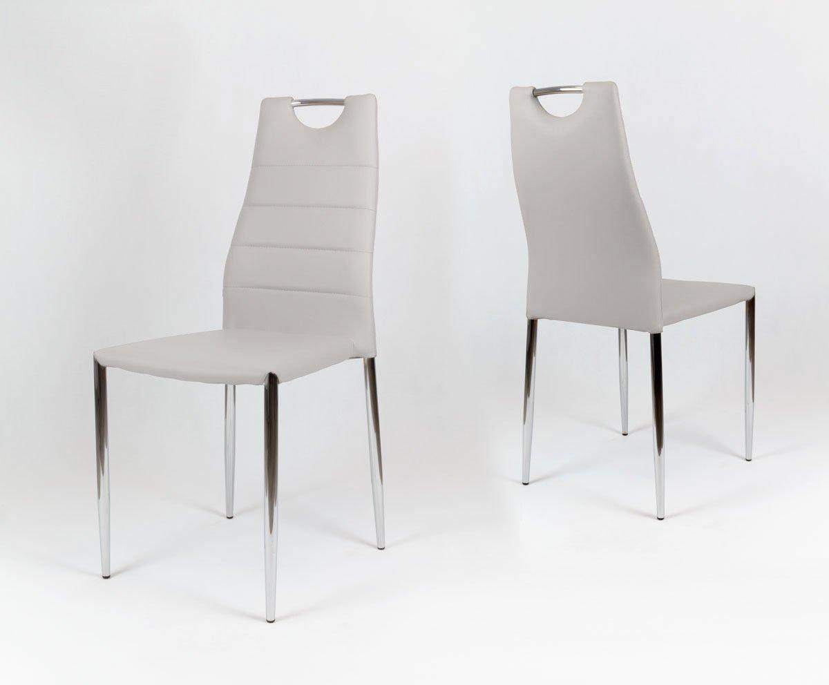 sk design ks005 grau kunsleder stuhl mit chromgestell hellgrau angebot sonderangebote. Black Bedroom Furniture Sets. Home Design Ideas