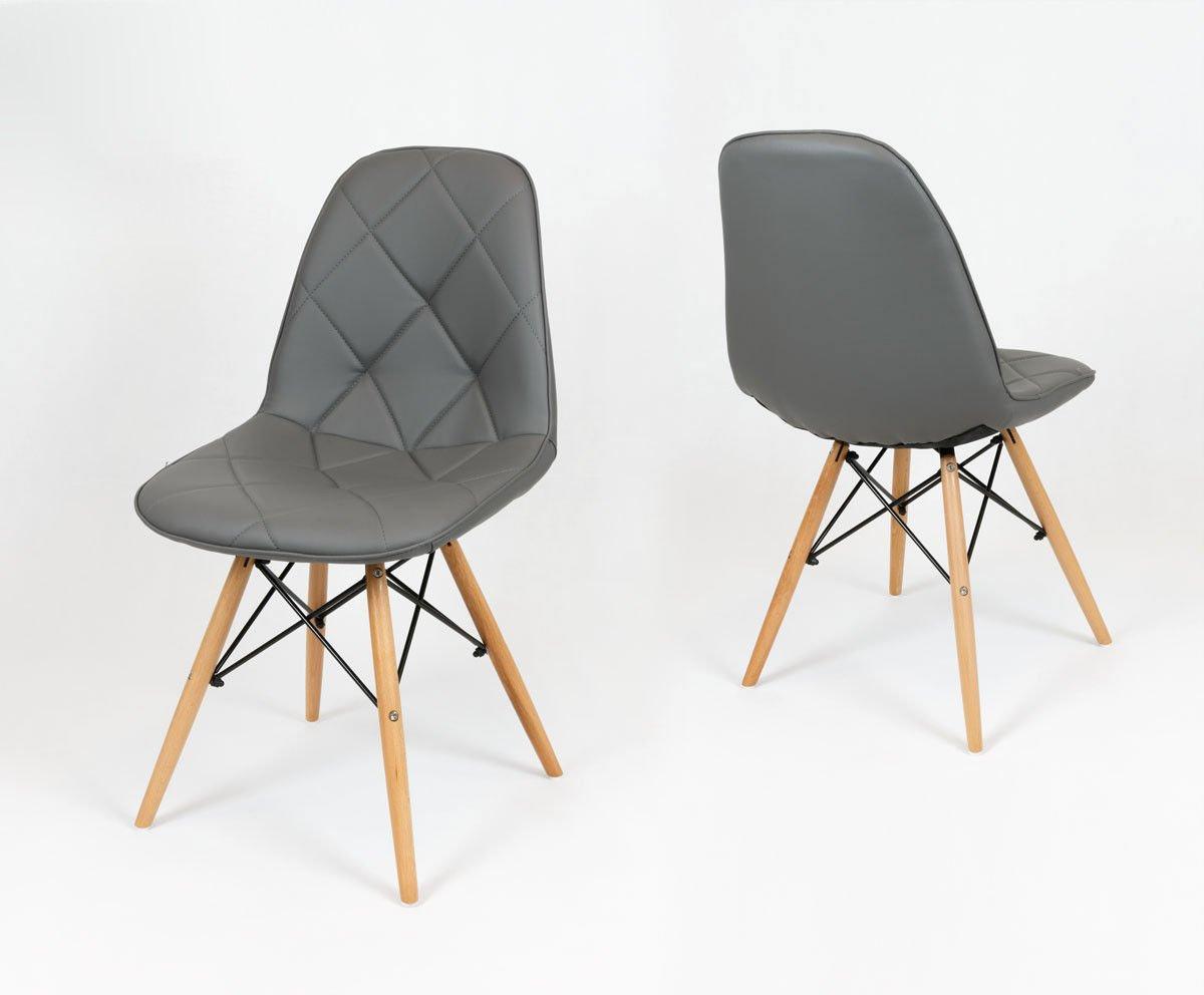 Sk design ks007 grau kunsleder stuhl mit holzbeine for Design stuhl grau
