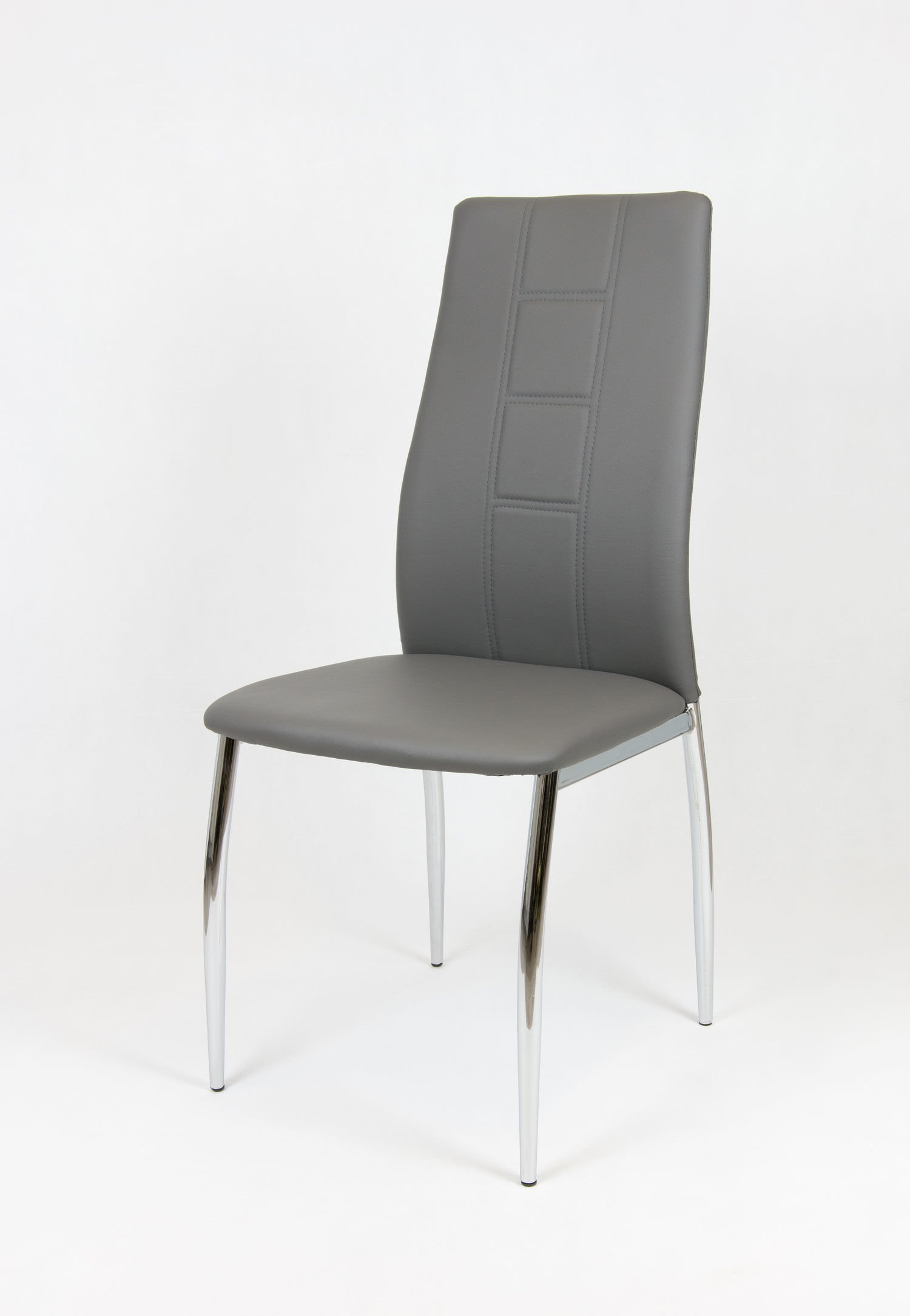 Sk design ks026 grau kunsleder stuhl mit chromgestell grau for Designer stuhl grau