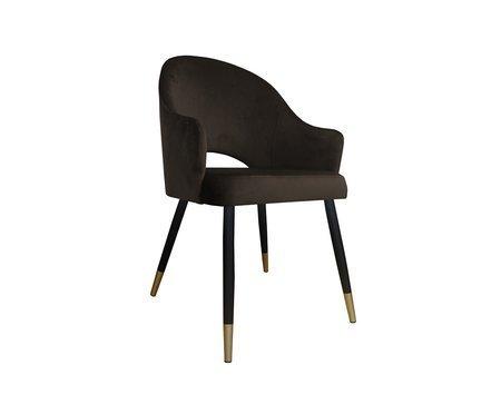 Dunkelbrauner Polsterstuhl DIUNA Sessel Material MG-05 mit goldenen Beinen