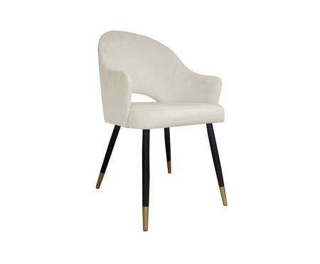 Gepolsterter Stuhl DIUNA Sessel aus elfenbeinfarbenem Material MG-50 mit goldenen Beinen
