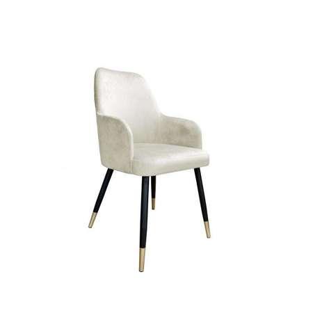 Gepolsterter Stuhl PEGAZ aus elfenbeinfarbenem Material MG-50 mit goldenen Bein