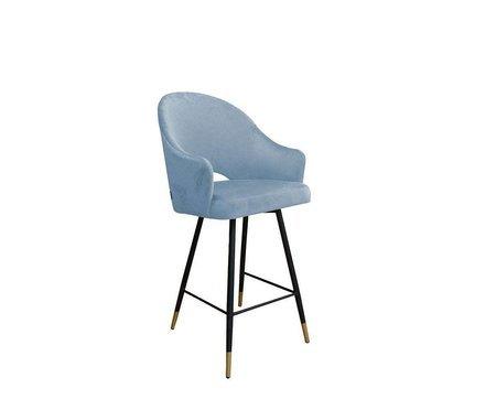 Grau blau gepolsterter Sessel DIUNA Sessel Material BL-06 mit goldenem Bein