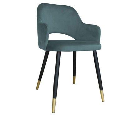 Grau-blau gepolsterter Stuhl STAR Material BL-06 mit goldenem Bein