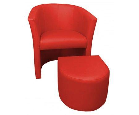 Rot CAMPARI Sessel mit Fußstütze