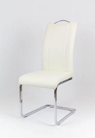 SK Design KS003 Creme Kunsleder Stuhl mit Chromgestell