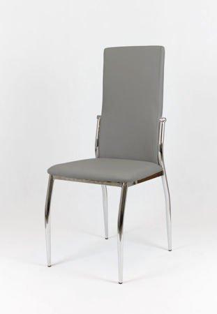 SK Design KS004 Grau Kunsleder Stuhl mit Chromgestell