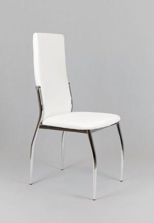 SK Design KS004 Weiss Kunsleder Stuhl mit Chromgestell