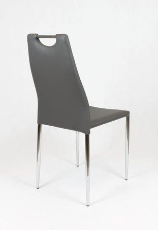 SK Design KS005 KS005 Dunkel Grau Kunsleder Stuhl mit Chromgestell