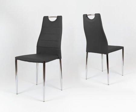 SK Design KS005 Schwarz Kunsleder Stuhl mit Chromgestell